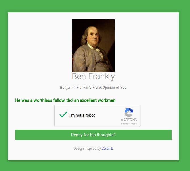 A screenshot of the Ben Frankly Project