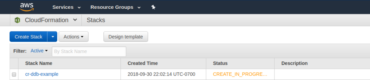 The AWS console with the CREATE_IN_PROGRESS status of the stack